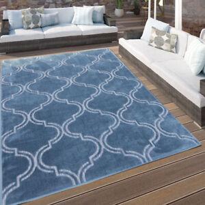 Blue Moroccan Washable Rug Trellis Indoor Outdoor Rugs Easy Clean Flatweave Mat
