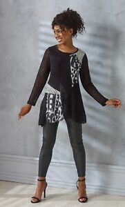 Embellished panel Print Knitted Tunic  - Ladies Womens - Klass Collection