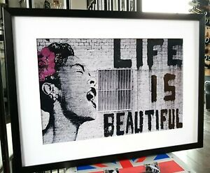LARGE Banksy Luxury Framed Picture Print Life is Beautiful Graffiti Art NEW SIZE