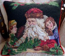 "14x14"" Handmade Christmas Santa with Kids Needlepoint Pillow Cushion"