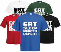 Eat Sleep Party Repeat T Shirt Funny Unisex Dance Festival Tee Rave Top DJ Gift