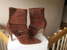 Manolo Blahnik Cognac Brown Laser Cut Booties Boots Shoes Heels Sz 35.5-36 NEW