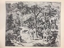 """A Treasury of American Prints, Harry Wickey """"Central Park"""", 9 1/4"""" x 11 1/2"""
