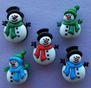 JOLLY SNOWMEN 3D Buttons Galore Christmas Happy Snowman Snow Scarf Winter Hat