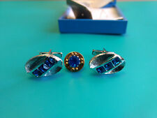 Collectible Silver Toned Cuff Link And Pin Set With Blue Color Stones And Box