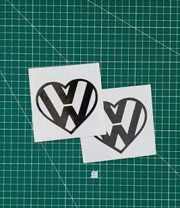 2x Vw Heart Decal sticker black 100mm width golf polo gti R