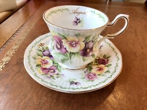 Queens Rosina China Teacup and Saucer: Special Flowers Collection, August Pansy