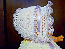 BABY GIRLS BONNET Crochet White & Light Purple Size 2M to 6 Months