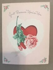 Vintage Valentine's Day Card on Salesman Sample Heart & Rose Woolworth Co 1948
