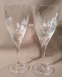 """Royal Doulton Crystal Mayfair Lot of 2 Wine Glasses 7 1/2"""" PERFECT!"""