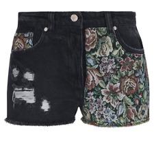 PRIMARK ATMOSPHERE Ladies Womens Black Denim Jeans Shorts Floral Printed Boho 6