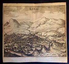 GRANADA, Loja,  grabado original de M. Zeiler, 1656.