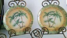 """Kathleen Denis/Keller Charles 2 Melamine 7 7/8"""" Plates Palm Trees Print"""