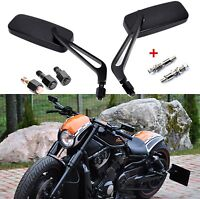 Rectangle Black Motorcycle Mirrors For Harley Cruiser Bobber Chopper Softail US