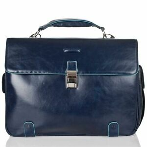 Man briefcase Piquadro Blue Square CA1066B2 business large laptop bag in leather