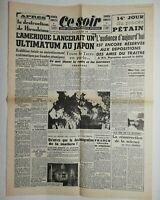 N610 La Une Du Journal Ce Soir 8 août 1945 l'Amérique ultimatum Japon