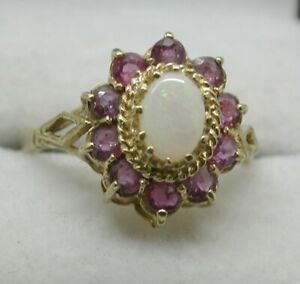 Beautiful 9 Carat Gold Opal And Pink Topaz Cluster Ring Size Q
