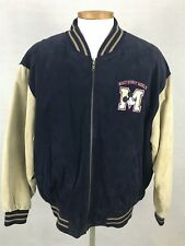 Mickey Mouse Disney World Suede Leather Coat Varsity Jacket Men's XXL Navy Blue