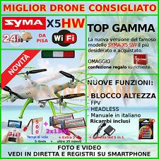 SYMA DRONE X5 HW WIFI +BLOCCO ALTEZZA NUOVO QUALITA' PREZZO + BASSO +2 BATT.1300