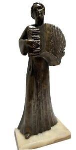 LILIAN SWANN SAARINEN BRONZE STATUE OF A WOMAN PLAYING ACCORDION