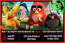 12 ANGRY BIRDS MOVIE 2016 Birthday party invitations PRINTED