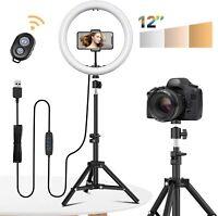 "12"" Selfie Desktop LED Ring Light With Tripod stand Phone Holder Camera Lighting"