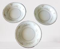 Mikasa Bowl Fine China Narumi Rapture 5769 White Floral Silver Rim Set of 3