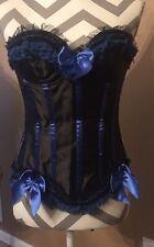 Corset Top Black / Blue Lace Up Back Zip Up Side Size Medium