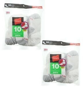 20 Pack Hanes Little Boys Ankle Socks, Small Shoe Size 4.5-8.5, All White