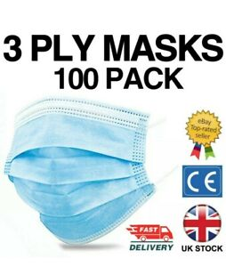 100 x 3ply Face Mask Non Surgical Disposable Mouth Guard Face Masks UK