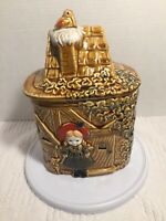 Vintage Cookie Jar - Made in Japan - Girl with Puppy and Cottage