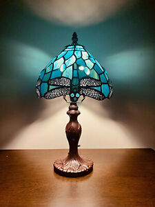 """..14"""" Tiffany Table Lamp Sea Blue Stained Glass and Crystal Bead Dragonfly"""