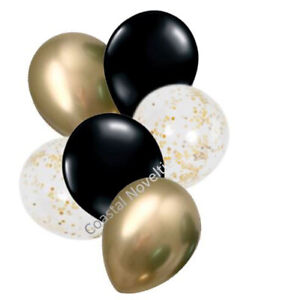 """6 High Quality Pearl Black, Chrome Gold, and Confetti Balloons 11"""" Bouquet"""
