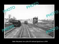 OLD LARGE HISTORIC PHOTO OF BALTO MARYLAND, THE SF RAILROAD SIGNAL TOWER c1950