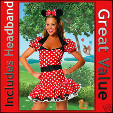 LADIES MINNIE MICKEY MOUSE FANCY DRESS COSTUME 6  8 10  SMALL ONE SIZE