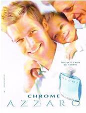PUBLICITE ADVERTISING  2002  AZZARO  CHROME parfum homme