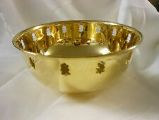 GOLD BRASS BOWL WITH CHRISTMAS TREE CUT OUTS AROUND TOP