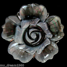 Jewelry New Carved Flower Black Mother Of Pearl Shell Finger Ring Adjustable