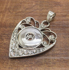 NEW Heart Crystal Alloy Pendant for Fit Noosa Necklace Snap Chunk Button #R133