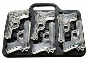 GUN ICE CUBE TRAY WEAPON X6 PISTOL SHAPED CUBES CHOCOLATE SILICONE MOULD BARWARE
