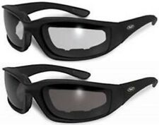 2 New Padded Motorcycle Riding Glasses Sunglasses Clear Smoke Dark Tinted Goggle