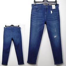 M&S INDIGO Distressed Denim GIRLFRIEND JEANS ~ Size 12 Med ~ INDIGO BLUE