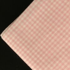 "Vintage Gingham Fabric Pink Cotton Blend 1/8"" Check 3 Yards 16"" X 45"" Wide - NOS"