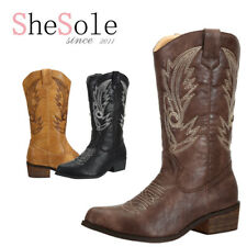 AU Free Ship Womens Cowboy Boots PU Leather Western Cowgirl Line Dance Boots