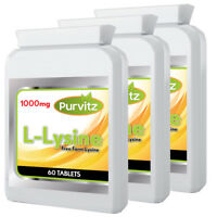 L-Lysine 180 Tablets 1000mg HIGH Strength Cold Sores Amino Acid Purvitz 3 Bottle