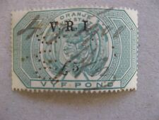 """South Africa: OFS 1900  £5 Fiscal Stamp Optd """"VRI £5"""" used"""