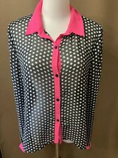 Allen B Light Weight Sheer Button Up Shirt Juniors Size Medium Black White Pink