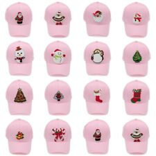 Women Fashion Pink Baseball Cap Adjustable Snapback Hat Christmas Winter Patches