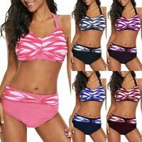 Womens High Waisted Bikini Set Push-Up Bra Swimwear Swimsuit Bathing Beachwear