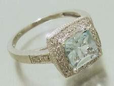 R102 Solid 9ct White Gold NATURAL Aquamarine & Diamond ENGAGEMENT Ring size O